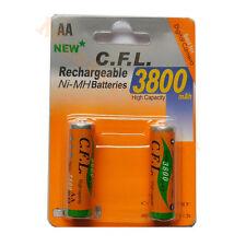 Lot de 2 x Piles AA R06 rechargeable 3800mAh NI-MH batteries -Pas Cher-