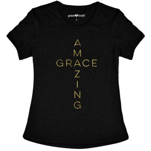 WOMENS BLACK AMAZING GRACE GOLD CROSS V-NECK TOP SIZE S, M, L, XL, 2XL, 3XL