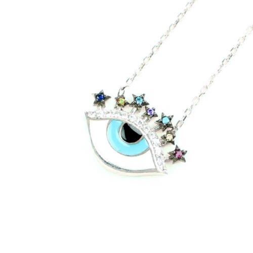 Turkish Evil Eye Necklace-Silver 925-Nazar 7 Star1 White-Blue CZ Pendant /& Chain