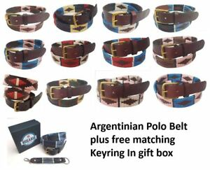 Polo Belt Argentinian Gaucho brown leather belt Plus Free keyring  </span>