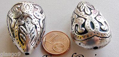 1 perle Grande GOUTTE Alliage argenté 36mm DIY bijoux déco MA176