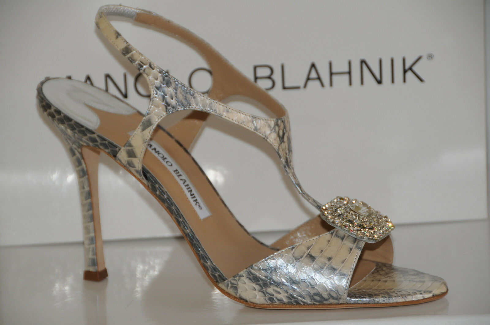 New Snake Manolo Blahnik Krusostrel Argento Snake New SKINS Jeweled Shoes Sandals 40.5 fc0bbe