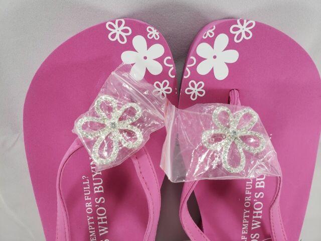 38e3e007131 NEW WOMEN S Pink Platform Flip Flops - Pavé Flower Gem GTDD XL 10-11 MSRP