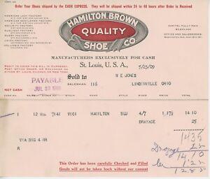 1909-Hamilton-Brown-Quality-Shoe-Co-Billhead-St-Louis-Missouri-Letterhead