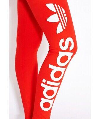 Adidas Originals Women Linear Leggings -red Fitness Gym Sports