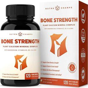 Bone Strength Supplement 120 CAPS Plant Based Calcium Magnesium Potassium Zinc