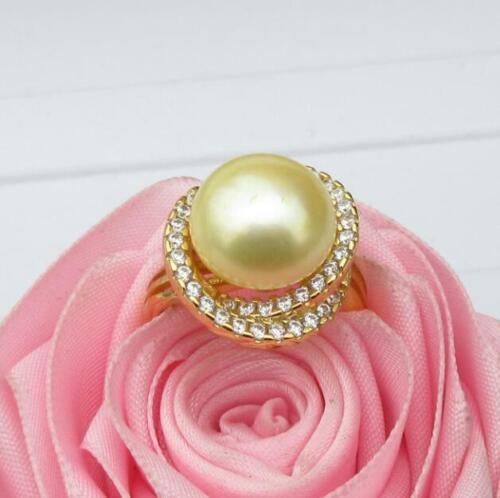 Charming AAA+ 12-13mm South Sea Genuine Yellow Pearl Ring Size Adjustable