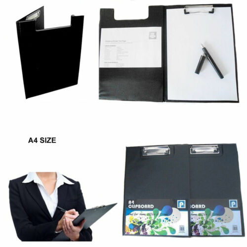A4 Black Clipboard Solid Fold-Over New Office Document Holder Filing Clip Board