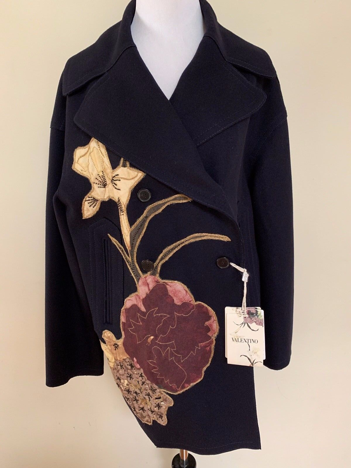 NWT Valentino Navy Navy Navy bluee Floral Applique Embroidered Beaded Wool Coat Sz 10  6250 0be4d6