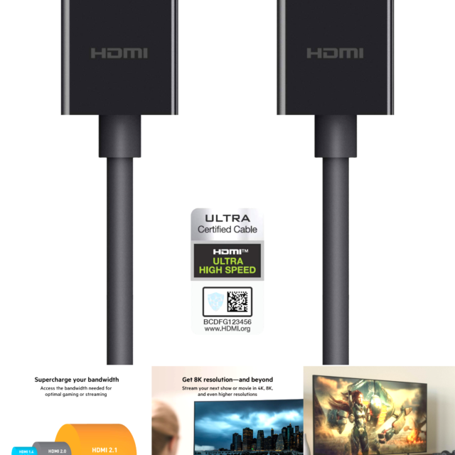 Belkin Ultra HD High Speed HDMI 2.1 Cable, Optimal Viewing for Apple TV and A...