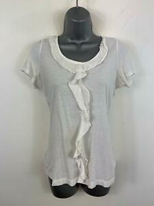 WOMEN-MARKS-amp-SPENCER-WHITE-SHORT-SLEEVE-FRILL-DETAIL-CASUAL-T-SHIRT-TOP-SIZE-10