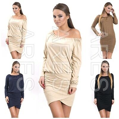 Gehorsam Ladies Dress One Size 8/10/12 Women's Elasticated Neckline Long Sleeves Top Exquisite Handwerkskunst;