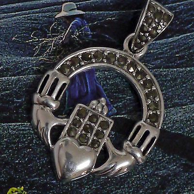 Peter Stone Claddagh Amulett Freundschaft 925 Silber Hochzeitsschmuck Markasit