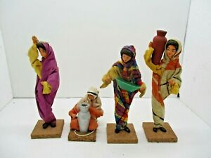 4 PISANTY Israeli Folk Art Clay Wood Cloth Dolls Figurines Vintage
