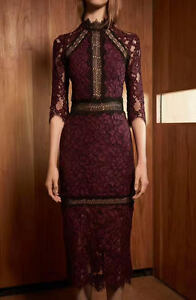 New Alexis Marisa Lace Dress In Burgundy Authentic Cocktail ...