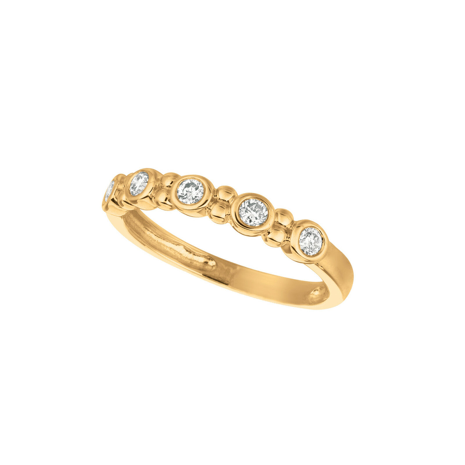 0.25 CT Diamond bezel set ring Set In 14K Yellow gold IDJR6882YD