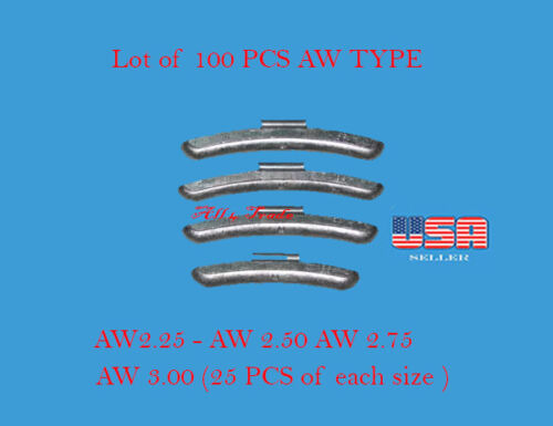 100 Pcs ASSORTMENT CLIP-ON WHEEL WEIGHT BALANCE AW STYLE  2.25 2.50 2.75 3.00 oz