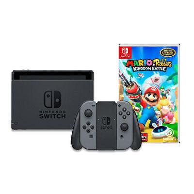 Nintendo Switch with Gray Joy-Con & Mario + Rabbids Kingdom Battle