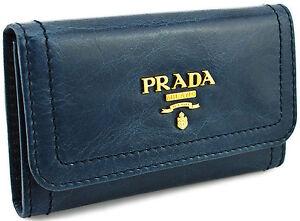 295-PRADA-jean-bleu-cuir-Vitello-Shine-cles-etui-Porte-Bague-nouvelle-collection