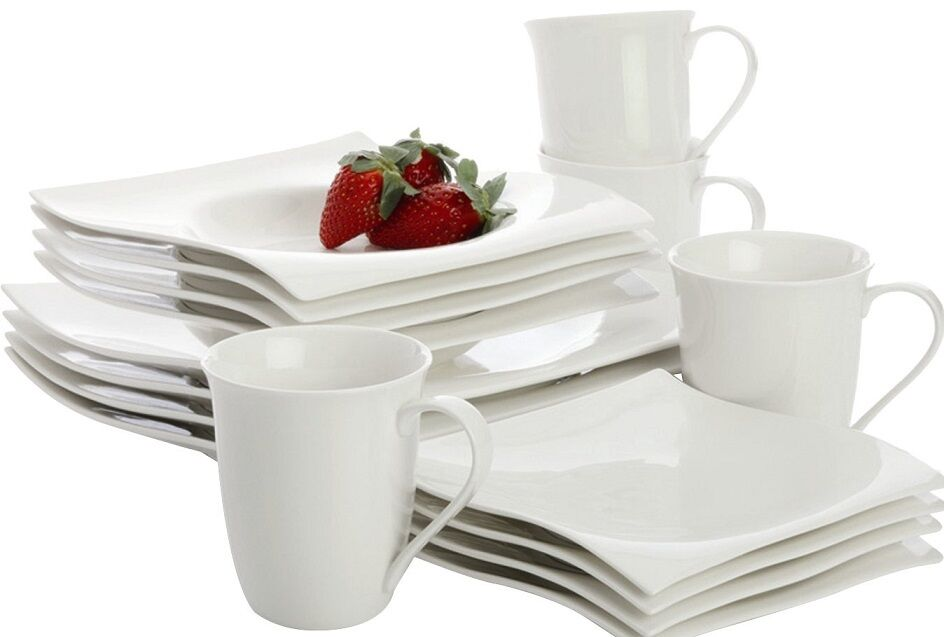 Maxwell & Williams White Basics Motion 16-piece Square Dinnerware Set for 4 NEW