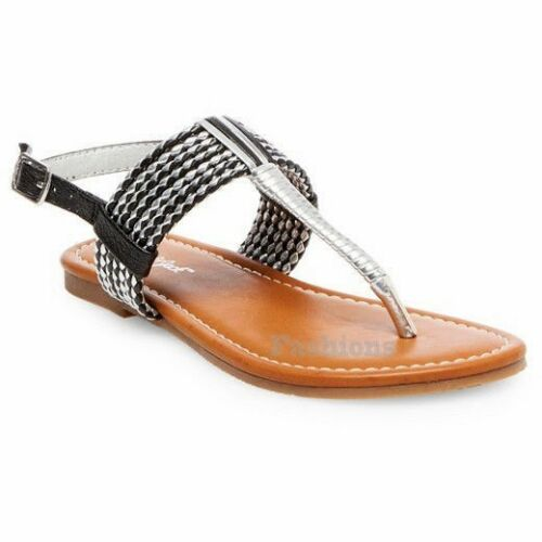 Girls Cat & Jack Nikko Thong Black Ankle Strap Sandals NWOB C375