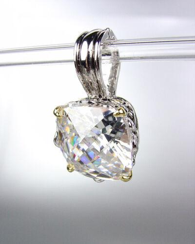 Designer Style Silver Gold Balinese Filigree Clear Quartz CZ Crystal Pendant