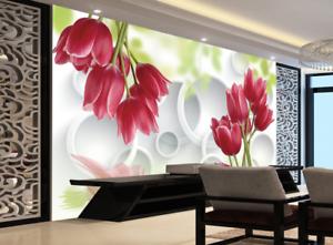 3D Red Tulips Green Leaves8 Wallpaper Mural Paper Wall Print Wallpaper Murals UK