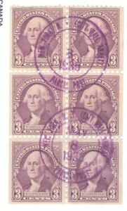US-720b-WASHINGTON-3c-BOOKLET-PANE-OF-6-cancelled-issued-1932