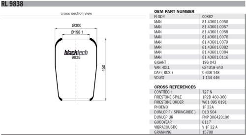 CONTITECH 727 n Luftfederbalg blacktech 9838 Vergl