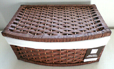 Fabric Lined NATURAL FIBER LIDDED STORAGE Rectangular CONTAINER By Design  Trend 400711558966 | EBay