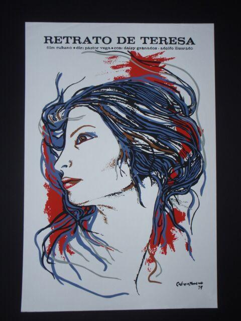 PORTRAIT OF TERESA / Cuban Silkscreen Movie Poster / Havana CUBA ART