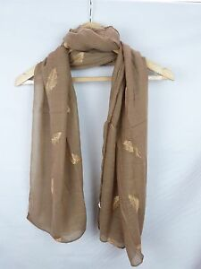 Scarf Vintage Style Embroidered Feather Scarf In 4 Colour  With Gold Thread.