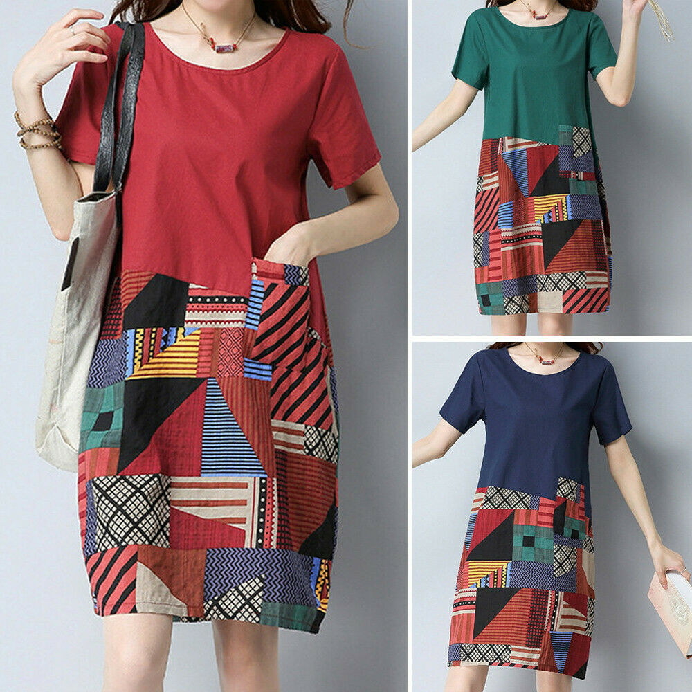 Women Vintage Cotton Linen Round Neck Short Sleeve Loose Print Dress Mini Beach