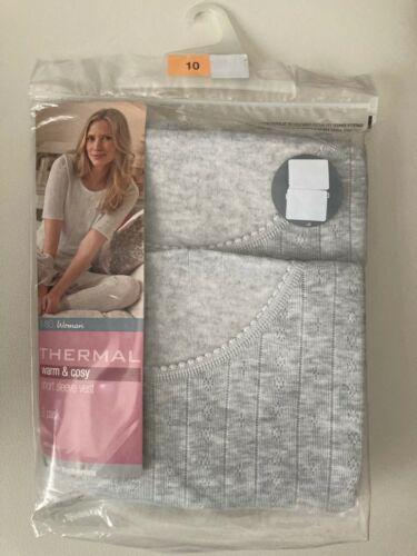 BNIP M/&S Woman 2pk ladies grey thermal short sleeved vests sizes 6 8 10