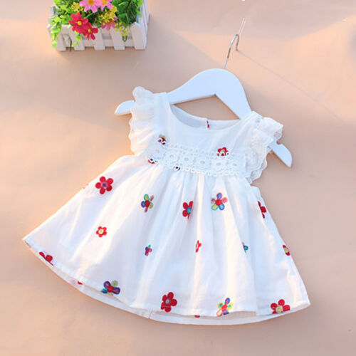 Summer Kid Baby Girls Dress Floral Strawberry Embroidery Sleeveless Party Dress