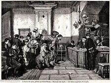Permesso di Soggiorno per Musicanti, Saltimbanchi e Attori. Stampa Antica. 1877