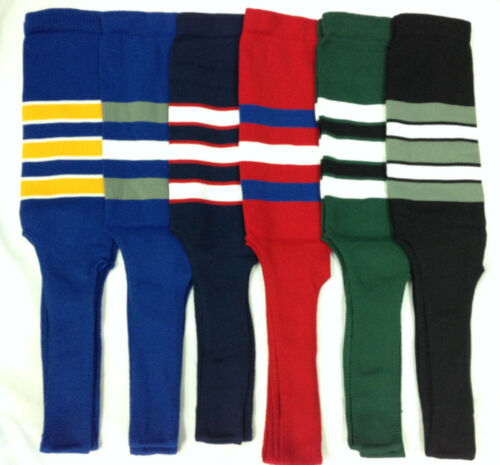 """Baseball Stirrups Socks Different Colors with Stripes 8/"""" Royal Navy Black Red"""