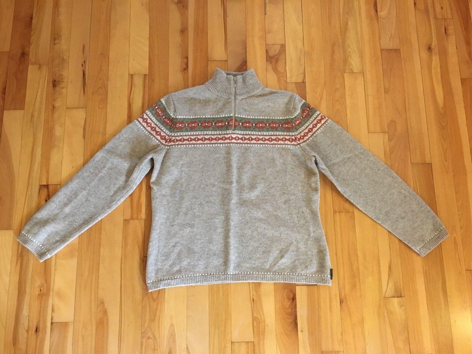 Womens WOOLRICH 1 2 Zip Sz L Sweater - 100% LAMBSWOOL - Nordic Stripe