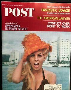SATURDAY EVENING POST - Feb 26 1966 - SWINGING IN MIAMI BEACH / Rare VW Bug Ad