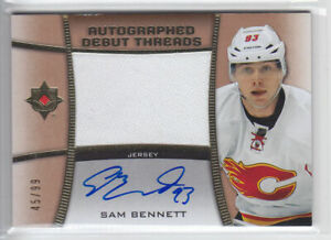 2015-16-UD-ULTIMATE-SAM-BENNETT-RC-AUTO-JERSEY-99-ROOKIE-DEBUT-THREADS-Flames