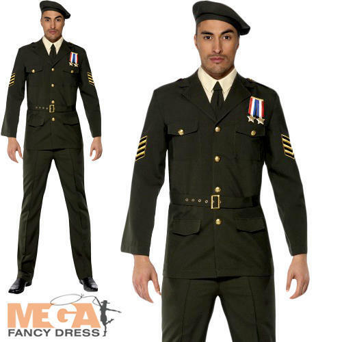 Military Army Officer 1940s Fancy Dress Mens James Bond Costume Adult Outfit New