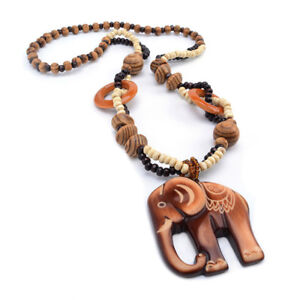 Chic Ethnic Style Wooden Elephant Pendant Bead Long Chain Necklace Jewelry JJ