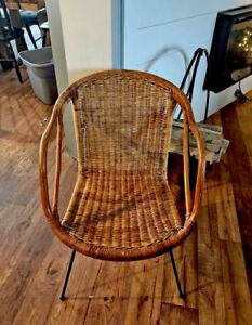 Brilliant Details About Mid Century Modern Cali Asian Wicker Chair Gmtry Best Dining Table And Chair Ideas Images Gmtryco