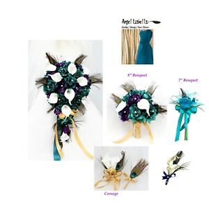 Dark-Teal-and-Purple-Peacock-Themed-Wedding-Flowers-Bouquet-Corsage-Boutonniere