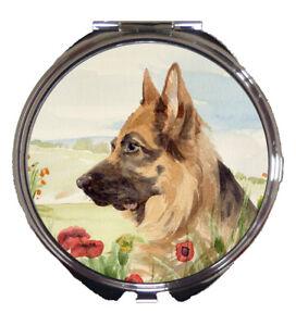 GERMAN-SHEPHERD-DOG-COMPACT-MIRROR-WATERCOLOUR-PAINTING-PRINT-SANDRA-COEN-ARTIST