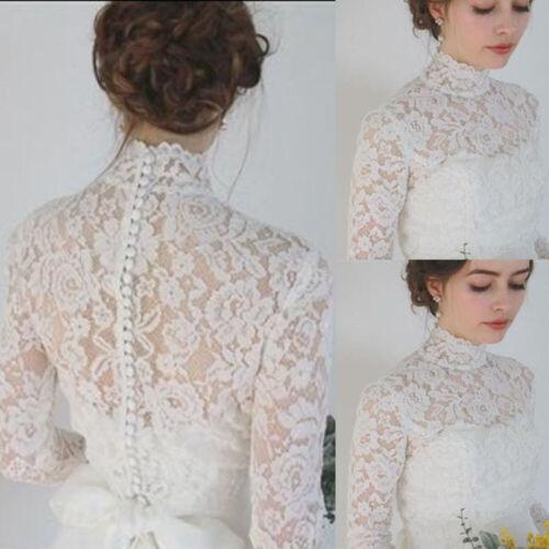 High Neck Bridal Bolero Wedding Lace Top Wraps Jackets Long Sleeve Shwal Custom