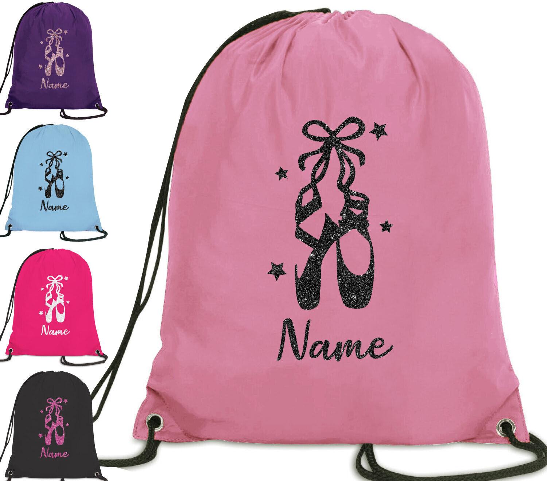 Personalised Dance Bag Girls Glitter Drawstring Ballet Pull String Kids Gift