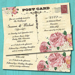 personalised wedding invitations with envelopes vintage postcard
