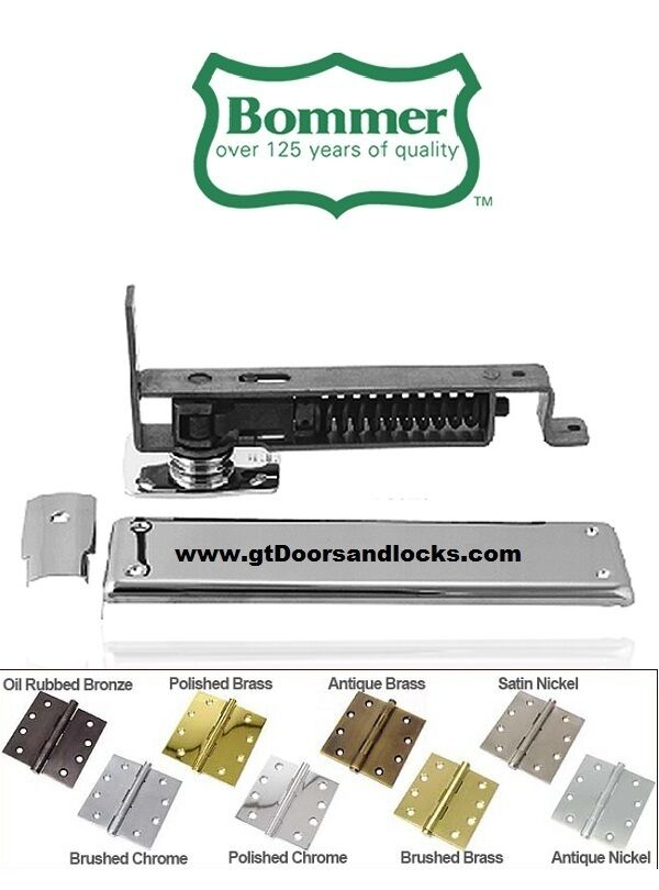 Bommer 7811-633 Horizontal Spring Pivot with Floor Plate US4 Satin Brass