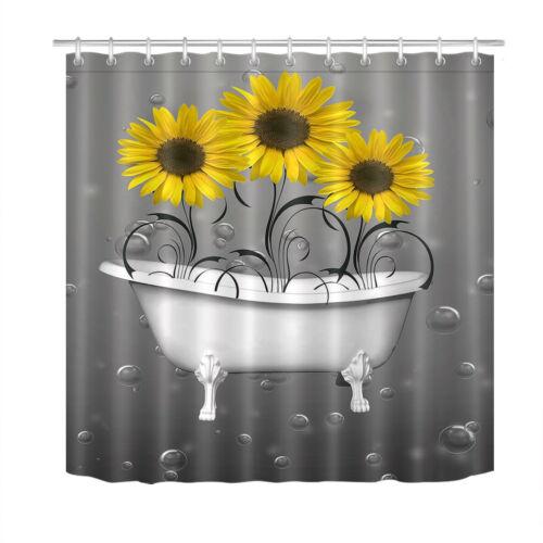 White Bathtub Sunflower Waterdrop Fabric Shower Curtain Set for Bathroom Decor